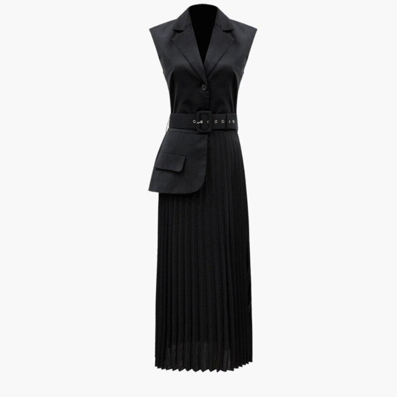 LANMREM 2019 nueva ropa de moda de verano para mujeres entallada sin mangas Split plisado hemline falso vestido de dos piezas YG96201-in Vestidos from Ropa de mujer    1