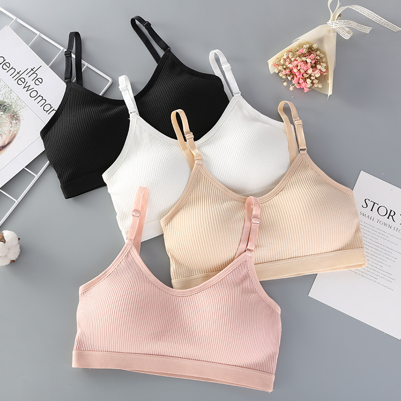 Cotton Tube Top Underwear Anti-light Gathering Gathered Chest Student Girl Small Chest No Steel Ring Thin Bra Sports Vest