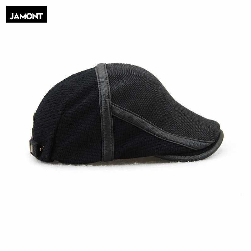 JAMONT повседневное мужской вязаный берет шляпа Регулируемый старый для мужчин крючком зима без каблука кепки французский стиль фураж