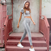 Mujer Short Sleeves Hooded Crop Top + Sport Pants Women Tracksuits Running Gym Fitness Sport Suits Yoga Set Female Sportwear