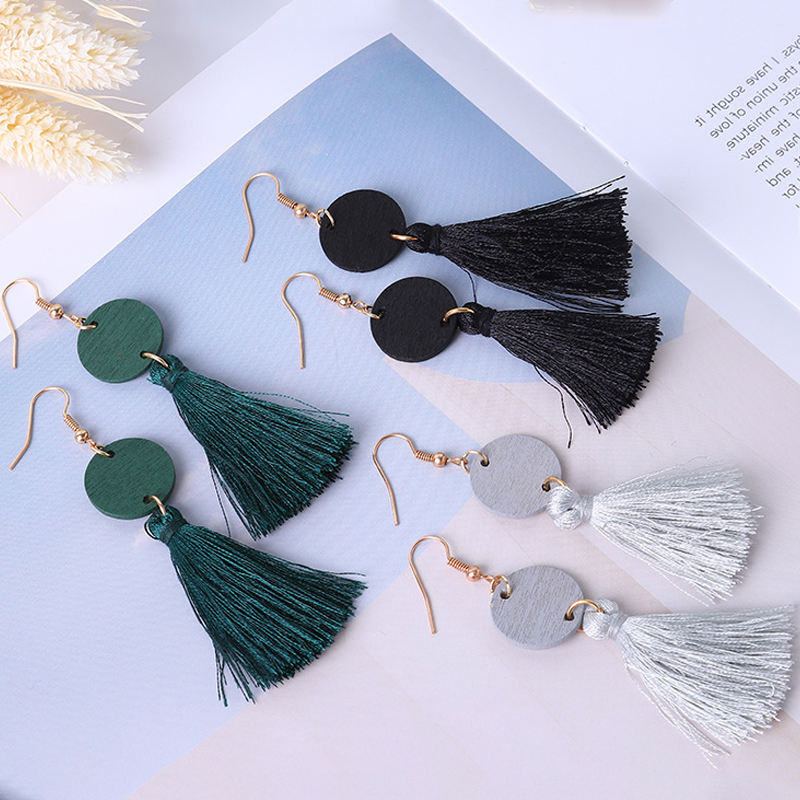 Sale 1Pair Long Tassels Earrings Leather Alloy Exquisite Wood Pendant Korean Bohemia Unique For Woman Girls Female 2 Styles