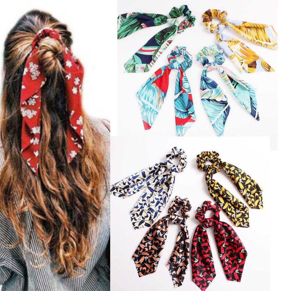 Bohemian Women's Floral Leopard Scrunchies Hair Scarf Streamers Bow Hair Rope Ties For Girls Elastic Hair Bands Hair Accessories