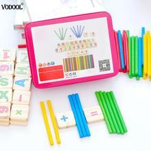 Деревянные для детей математические цифры палочки математические деревянные раннего обучения Обучающие головоломки с коробкой математические инструменты