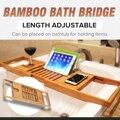 Erweiterbar Bambus Badewanne Caddy Tablett Einstellbar Badewanne Rack Bad Badewanne Regal Wein Buch Halter Lagerung Oganizer