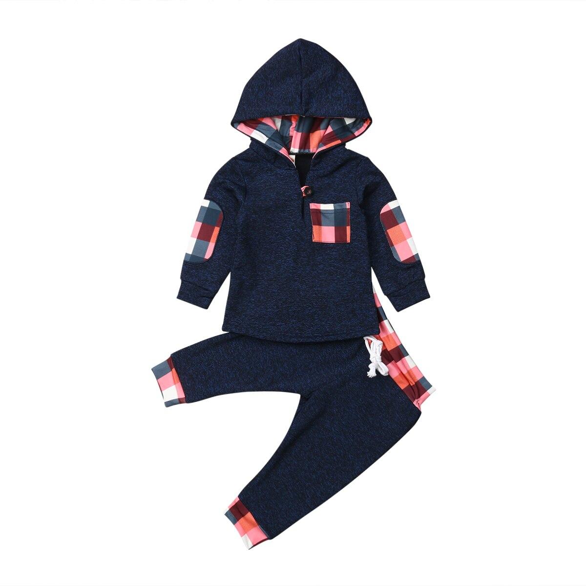 d7ce52e0d Bebê recém-nascido Da Menina do Menino Conjuntos de Roupas de Outono Inverno  Com Capuz Tops Calças Xadrez de Algodão Quente 2 pcs Set Outfits Meninos 0  -3 t