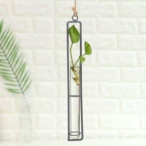 Image 2 - Ijzeren Muur Opknoping Bloempotten Mini Bloempot Tuin Glas Hydrocultuur Transparante Opknoping Bloem Fles Home Room Decor