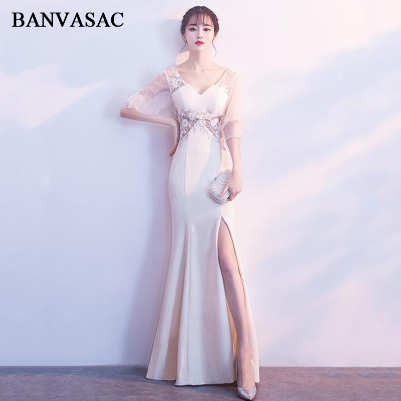 BANVASAC 2018 V Neck Flowers Split Mermaid Long Evening Dresses Party Lace Appliques Illusion Backless Prom Gowns in Evening Dresses from Weddings Events