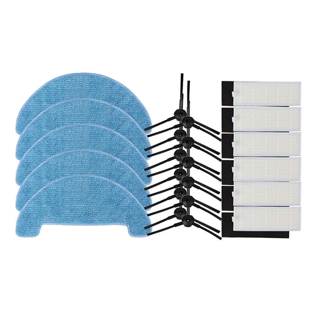 Escova + Filtro + 5 xHepa 6 EAS-12xSide xMopping Pano de Limpeza para Ecovacs Aspirador CEN550/CEN663/CEN661 /CEN665/BFD-wwt, sweepi