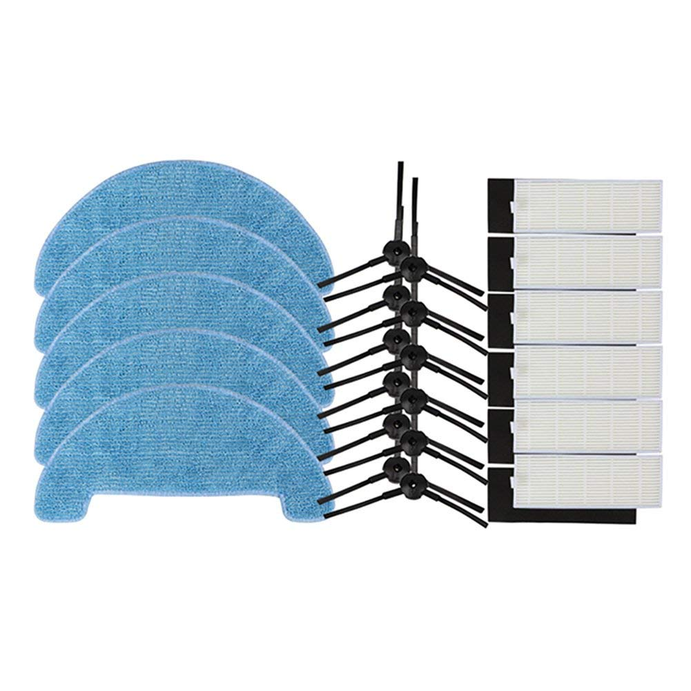 EAS-12xSide Brush+6xHepa Filter+5xMopping Cleaning Cloth for Ecovacs Vacuum Cleaner CEN550/CEN663/CEN661/CEN665/BFD-wwt,Sweepi