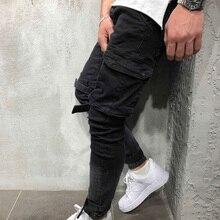 Мужские модные повседневные штаны-шаровары в стиле хип-хоп с большим карманом, облегающие брюки-карго, байкерские штаны, спортивные штаны для бега