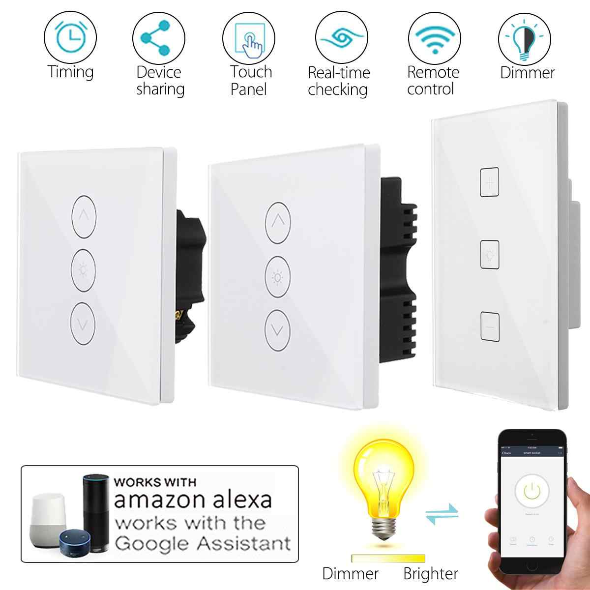 UK Plug Wireless WiFi Smart Light Dimmer In Wall Power Switch APP Touchs Control Remote Light Switch Work with Alexa Google