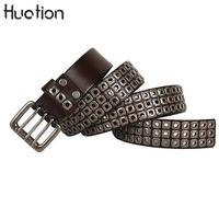 Huation Brand Luxury Black Steampunk Belts for Men Designer Women Rivet Studded Cowhide Leather Belts Double Pin Buckle