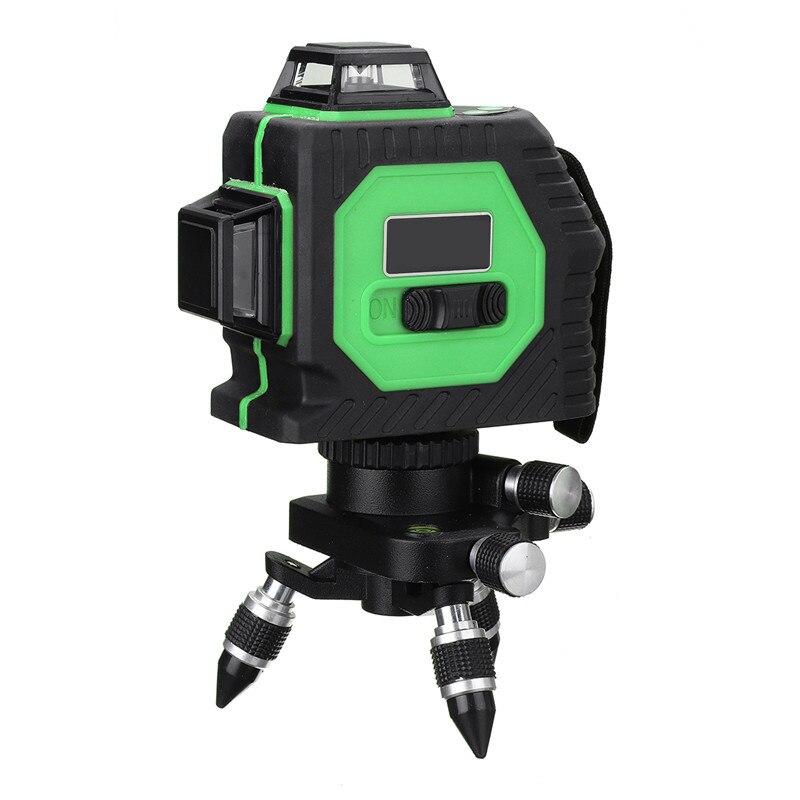 Лучшая цена 3D 12 лазерных линий 360 градусов Поворотный авто наливный лазерный уровень Крытый/Открытый Зеленый Крест огни Измерительный набо