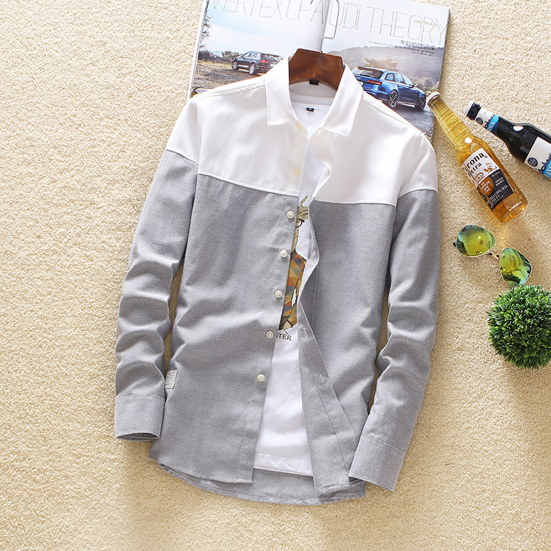 Men's Long Sleeve Shirt 2019 Spring And Autumn Top Leisure Sex Color Long Sleeve Shirt Trend Men's Cardigan Shirt Men stitching 3