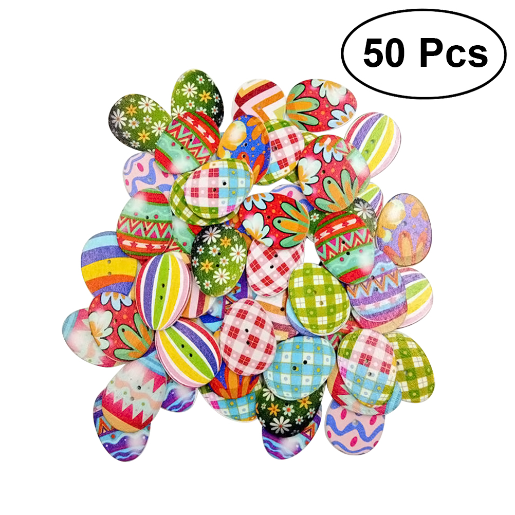 50Pcs Wooden Buttons DIY Eggs Mixed 2 Holes Button for Sewing Scrapbooking Crafts DIY