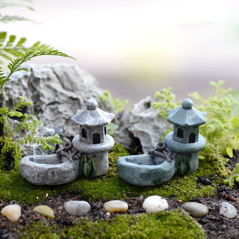Figurines Miniatures Mini Craft 1 Pcs Miniature House Fairy Garden Micro Landscaping Decor Vintage Artificial Pool Tower