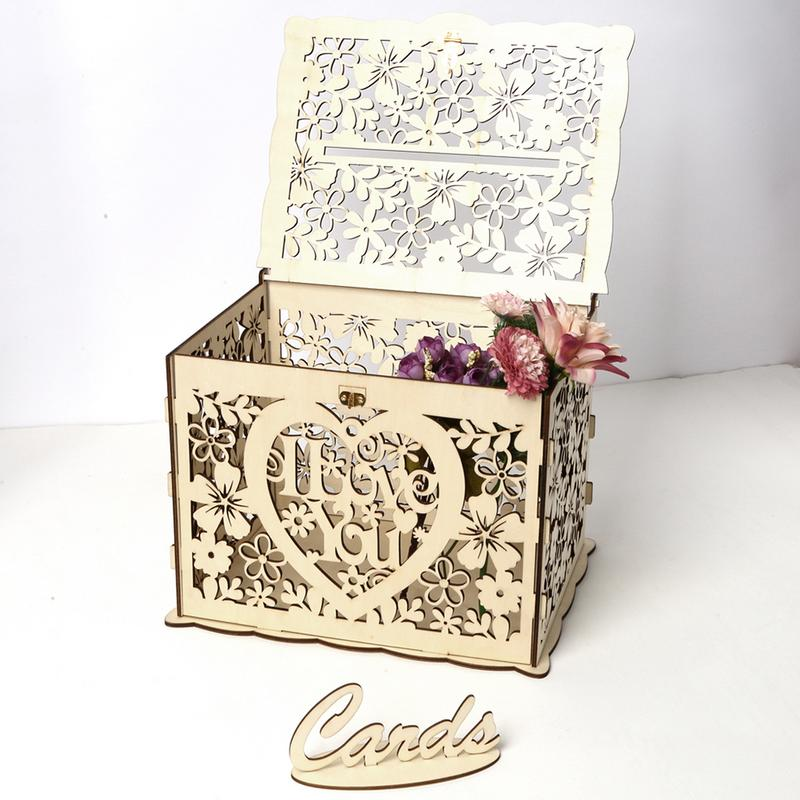 Wooden Wedding Supplies DIY Business Card Box with Lock Beautiful Wedding Decoration Supplies for Birthday PartyWooden Wedding Supplies DIY Business Card Box with Lock Beautiful Wedding Decoration Supplies for Birthday Party