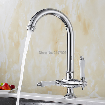 GIZERO Newly Chrome Polished Kitchen Faucet Dual Handles Mixer Tap Brass Sink Faucet 360 Degree Rotation Kitchen Faucets GI2122