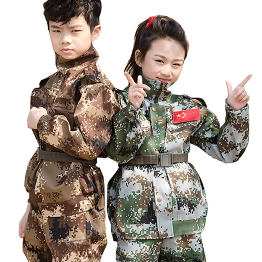 School Training Military Army Uniform Performance Clothing Kids Costumes Camouflage Boy Girl Combat-Proven Soldier Adult Jacket