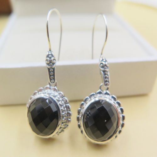Natural Black Agate Faced Ball with Solid 925 Sterling Silver Dangle Earrings