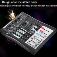 LEORY 48 В Phantom мощность 4 канала Bluetooth звук аудио микшер микрофон караоке смешивания усилители домашние консоли с USB Professional
