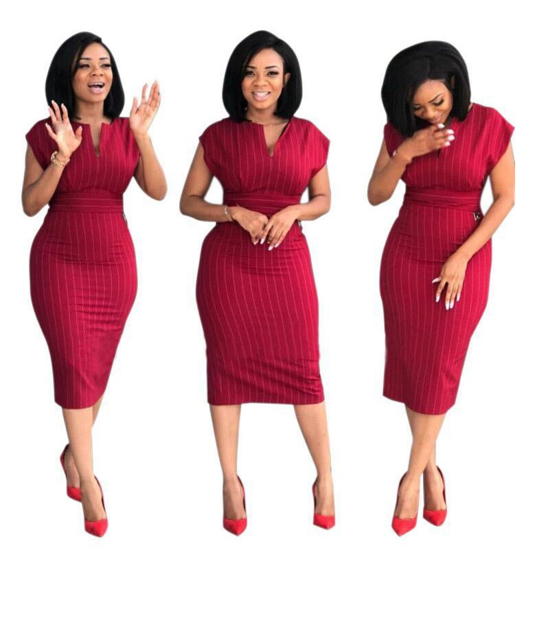 2019 Fashion Retro Summer Pencil Dress Short Sleeve Women Office Work Dresses Vintage Bodycon Package Hip Dress in Dresses from Women 39 s Clothing