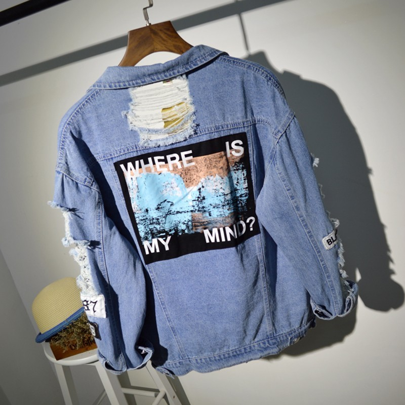 Plus Size Where Is My Mind Korea Kpop Frayed Letter Patch Bomber Jeans Jacket Women Ripped Denim Coat Female Streetwear Harajuku