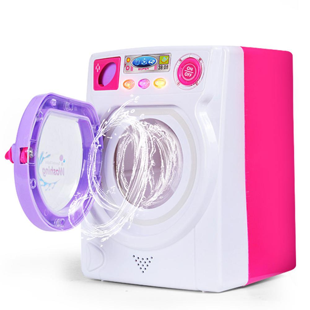 Children Play House Game Toy Simulation Washing Machine Electric Toy With Light Sound Light Electric Simulation Washing Machine