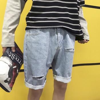 4c7e8b50871b Verano nuevos pantalones vaqueros cortos de Color sólido de moda para  hombres pantalones cortos de mezclilla con agujeros rasgados para hombre  ropa de ...