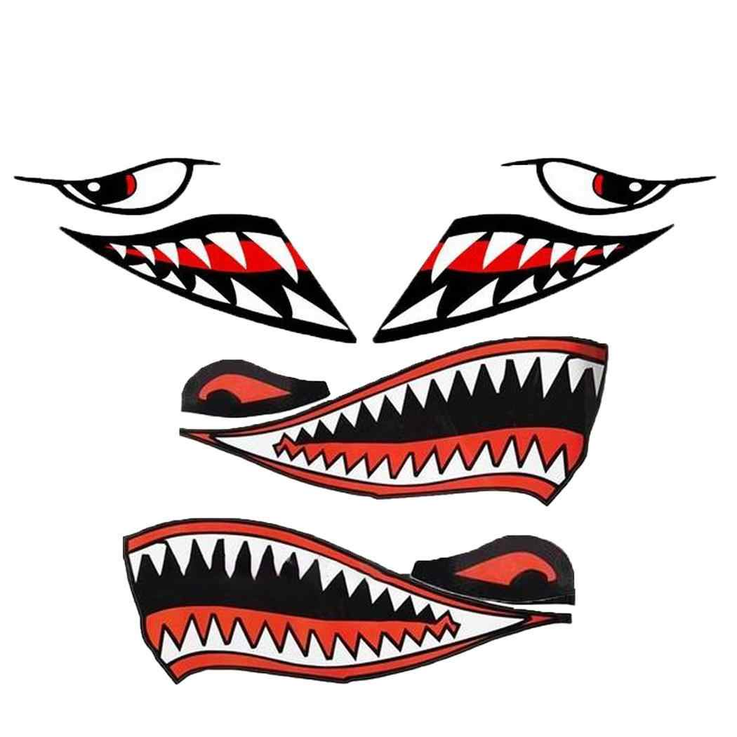 Sailnovo 2pcs 40 X 15 Cm Funny Car Stickers Shark Mouth Pattern Car Boat Yacht Colorful Decal Sticker Decoration Car Styling