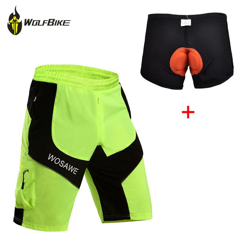 WOSAWE Heren Shorts Downhill MTB Shorts met Padded Gel 3D Ondergoed - Wielersport