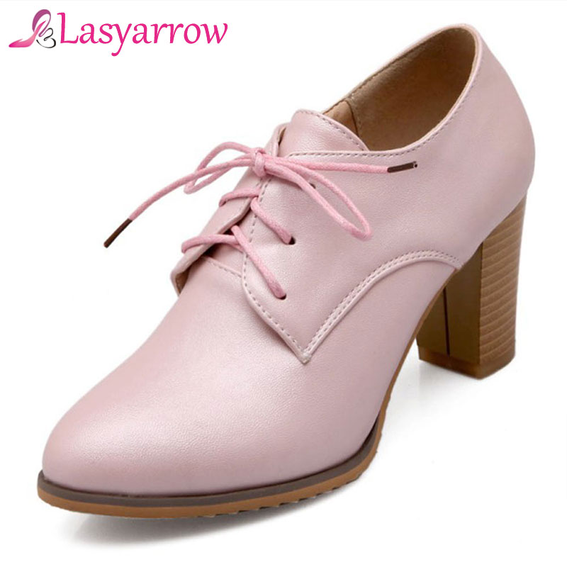 Lasyarrow High Heels Oxford Shoes For Women Autumn Thick Hee