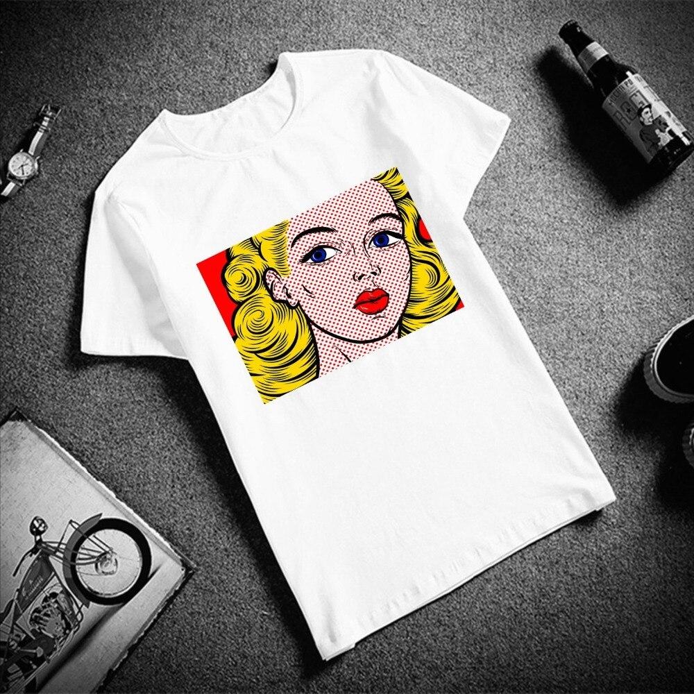 Skipoem забавная футболка поп-арт классика фотографии хлопковая Футболка с круглым вырезом размера плюс с коротким рукавом Брендовая женская футболка
