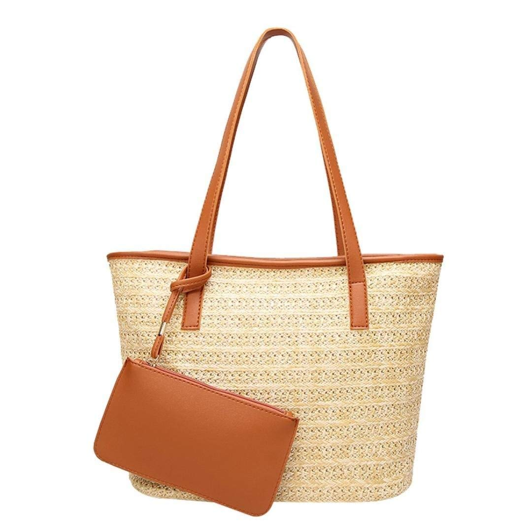 Fashion Women Casual Shoulder Bag Straw Bags Woven Bucket Bag Handbag (Brown)