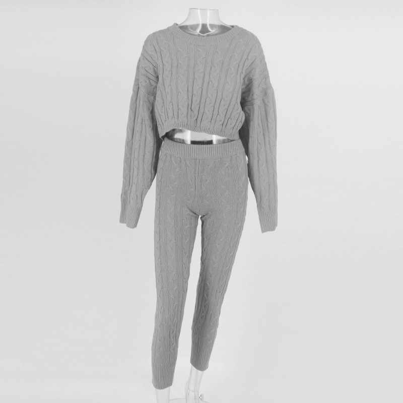 5b08f5df1f5 ... Feditch Sexy Two Piece Sets Knitted Crop Top And Solid Tops Pullover Long  Sleeve Autumn 2 ...