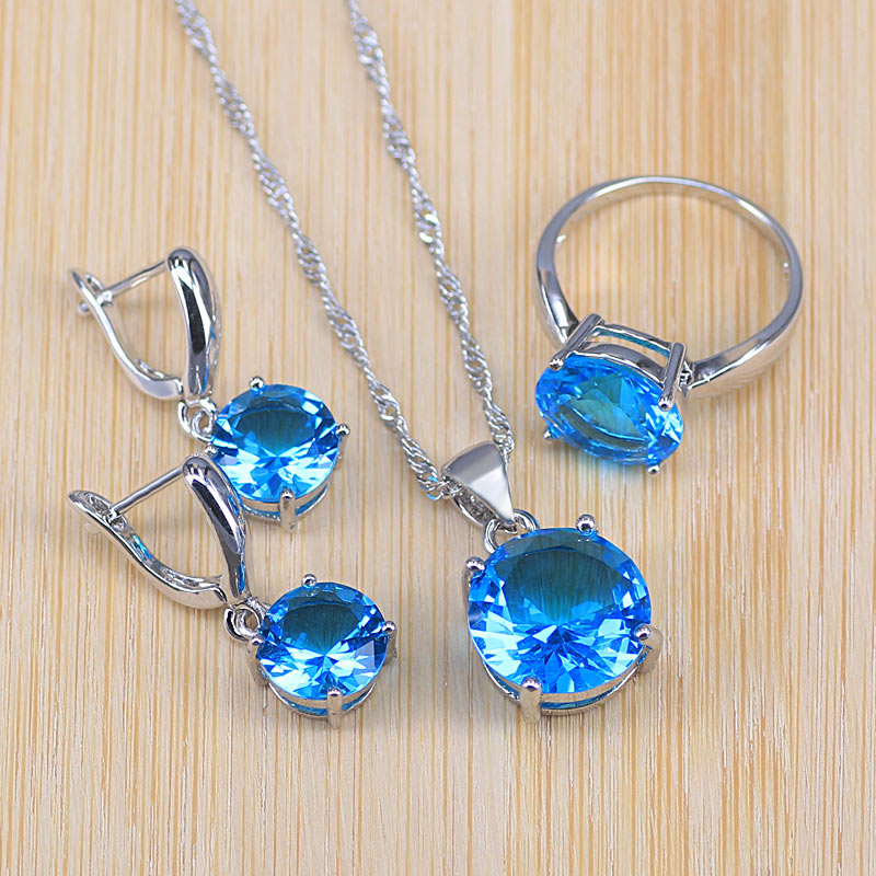 Jewelry-Set Necklace Earrings 925-Costume Christmas-Gift Classic-Style Silver Pendant