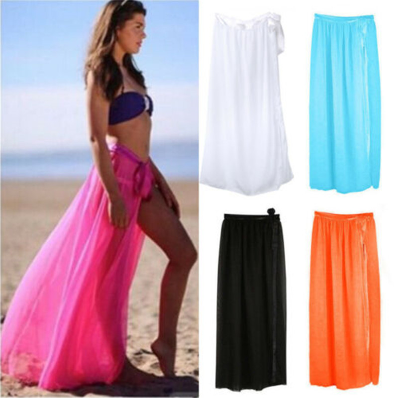 Women Sexy Chiffon Beach Maxi Wrap Long Skirt Solid Lace Up Bikini Skirt Mesh Perspective Skirt Lady Swimwear Beachwear 5 Colors