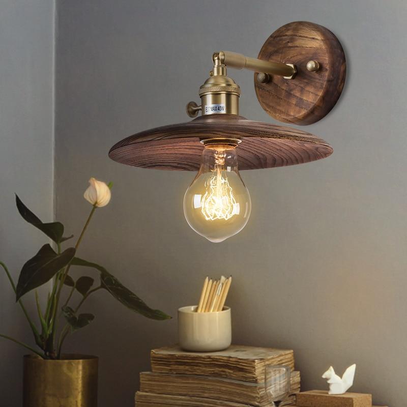 Fine El Walnut Burlywood Wall Lamp Loft Retro Luminaire Wall Light