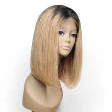 Alice Short Human Hair Bob Wigs Glueless Ombre Lace Front Human Hair Wig With Baby Hair Pre Plucked Remy Straight Lace Front Wig(China)
