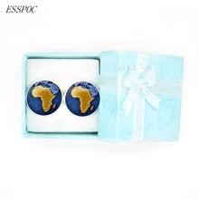 Gemelos Vintage de mapa africano, gemelos redondos de plata con cabujón de cristal, accesorios para traje de hombre, gemelos de boda a la moda