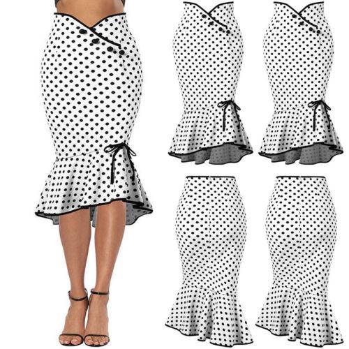 2019 Women's Midi Flounced Skirt Causal Pencil Formal Skirt Work Mermaid Bodycon Dot Skirt