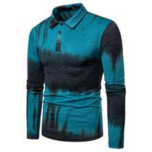 Lapel Men Polo Shirt Masculina Casual Long sleeves Mens Clothing Tops Tees Gray Orange Blue New