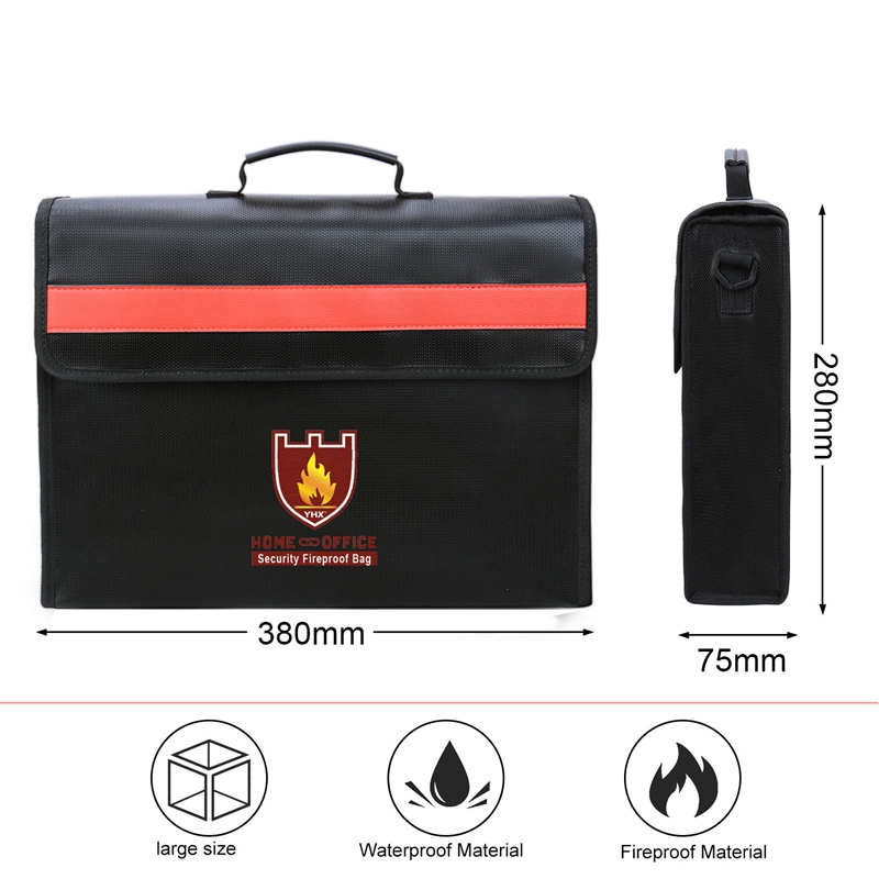 Image 4 - Fireproof Document Bag Non Itchy Fiberglass Cloth Waterproof Holder With Shoulder Strap Handle Bag-in File Folder from Office & School Supplies