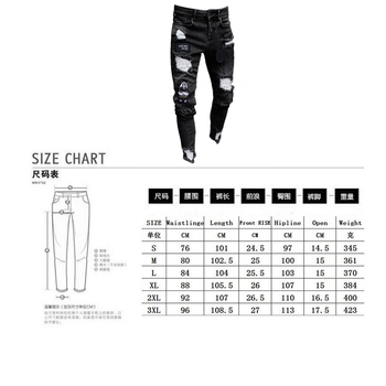 Men Stretchy Ripped Skinny Biker Embroidery Print Jeans  5
