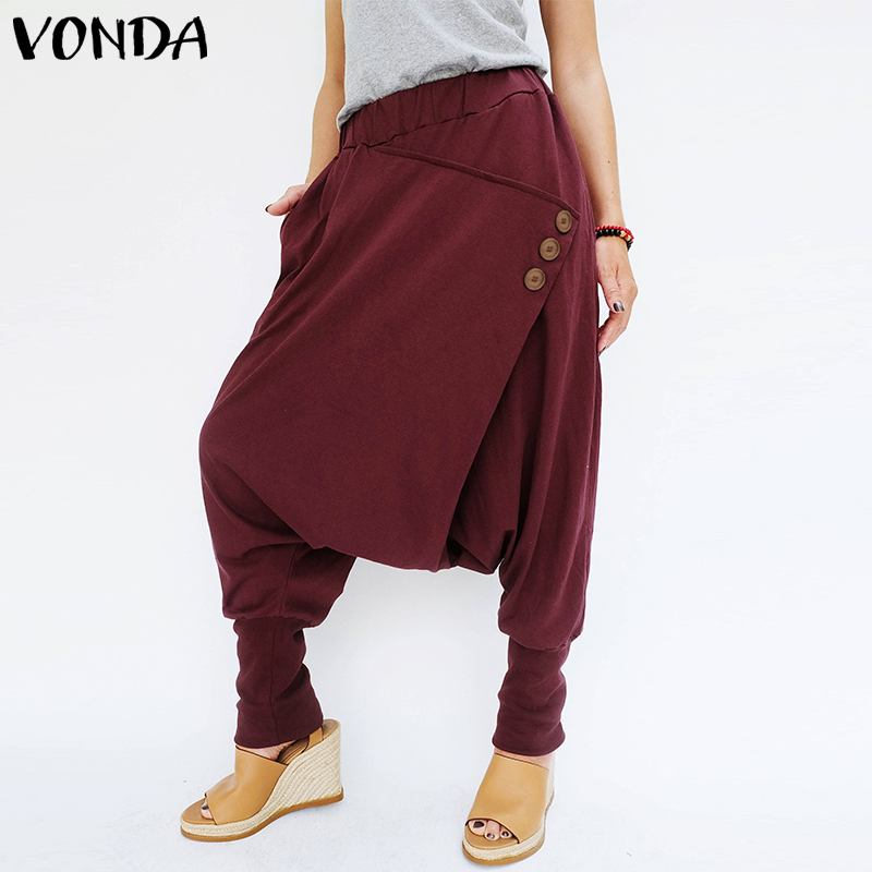 VONDA Brand Fashion Women Pants 2019 Autumn Casual Elastic Waist Front Button Pockets Loose Harem Pants Baggy Trousers Plus Size