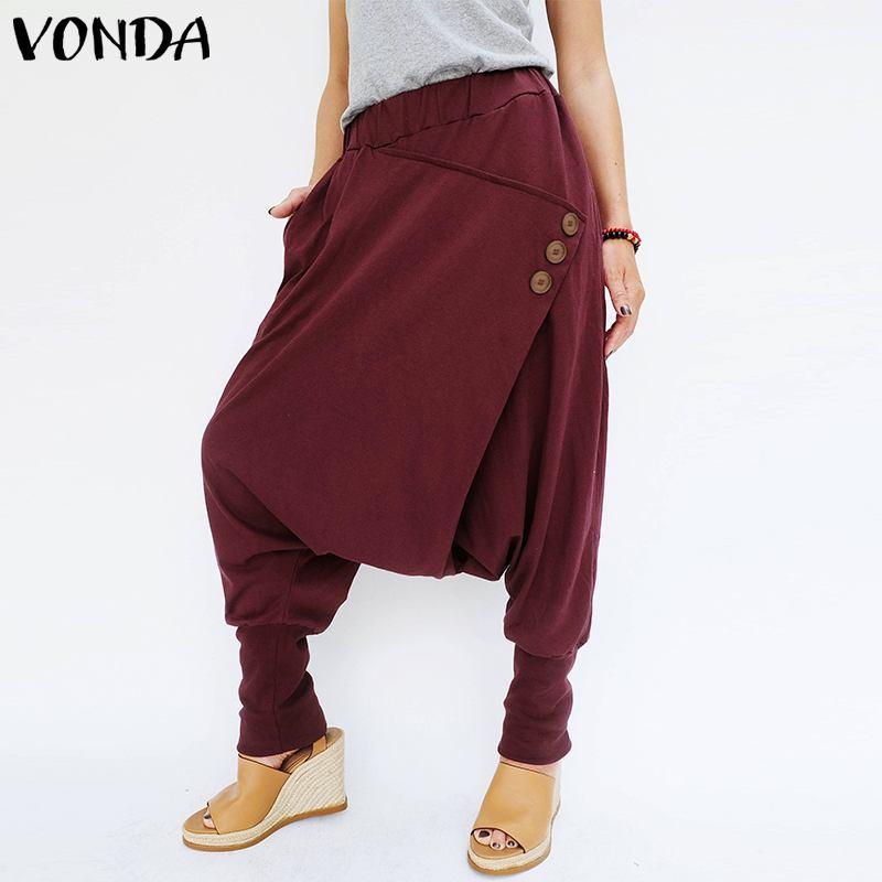 VONDA Brand Fashion Women Pants 2020 Autumn Casual Elastic Waist Front Button Pockets Loose Harem Pants Baggy Trousers Plus Size