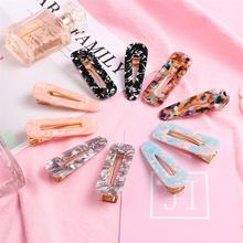 10PCS Vintage Marble Pattern Colorful Cute Hairpins Barrettes Hair Clips Accessories for Toddlers Women Girls