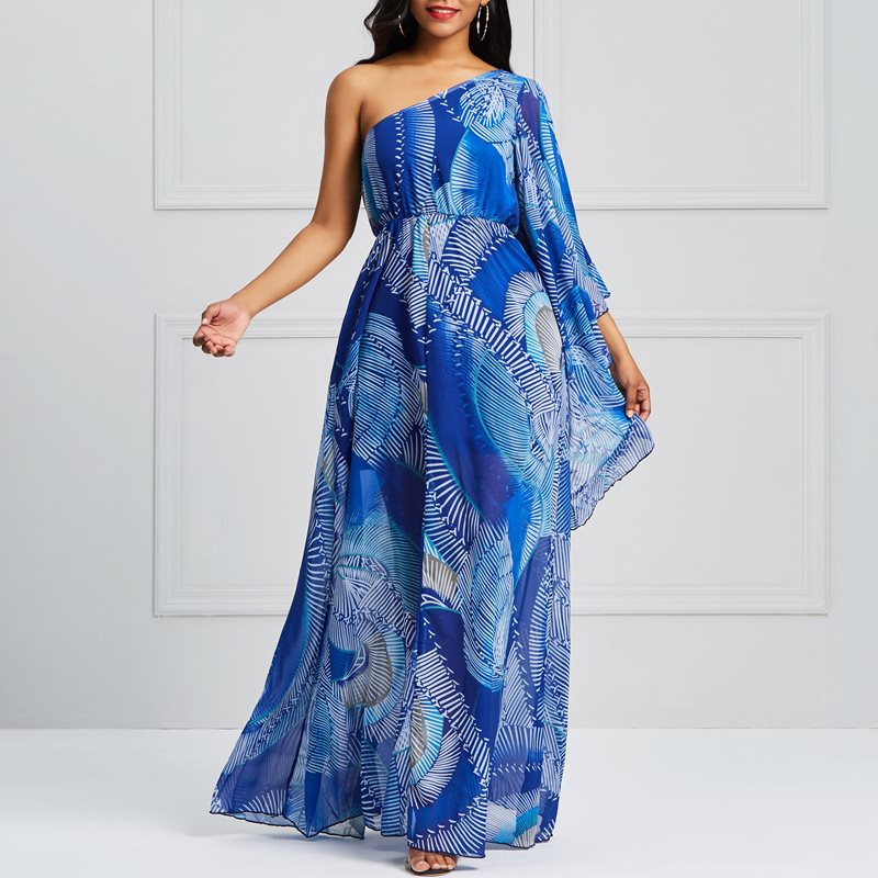Casual Maxi Dress Women Sexy One Shoulder Backless Chic Print High Waist Elegant Party Boho Summer Robe Blue Long Dresses Female