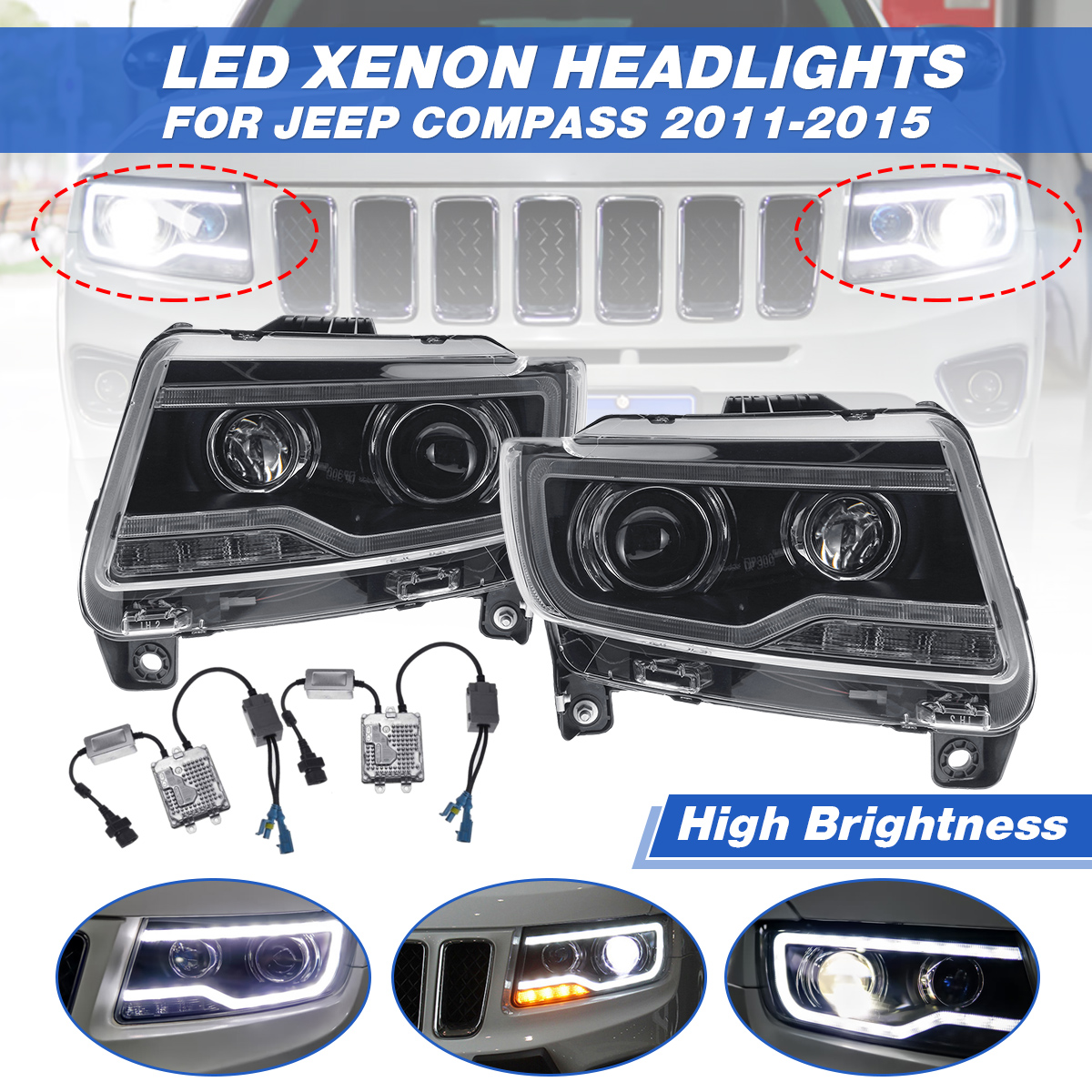 Car Styling Headlight Lamp for JEEP for Compass 11-15 LED Headlight for HID Head Lamp LED Daytime Running Light LED DRL Bi-XenonCar Styling Headlight Lamp for JEEP for Compass 11-15 LED Headlight for HID Head Lamp LED Daytime Running Light LED DRL Bi-Xenon