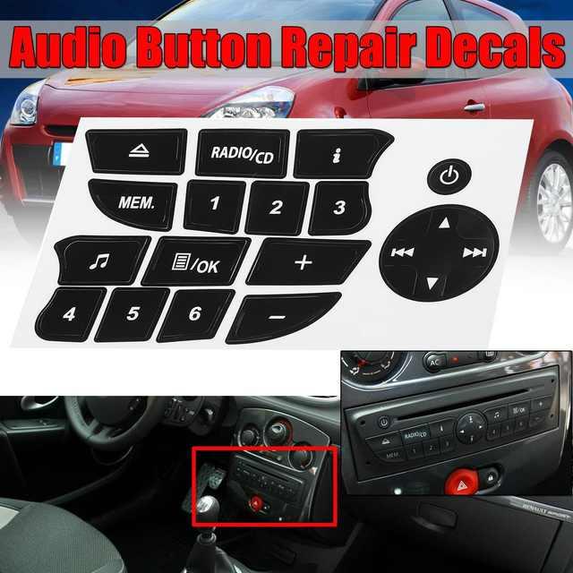 New Car Button Repair Stickers CD Radio Audio Button Repair Decals Stickers  For Twingo For Renault Clio and Megane 2009-2011